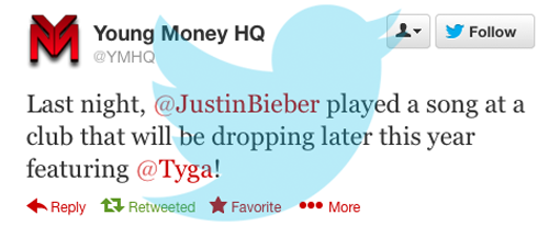 Confirmed: Justin is going to drop a new song later this year featuring Tyga!