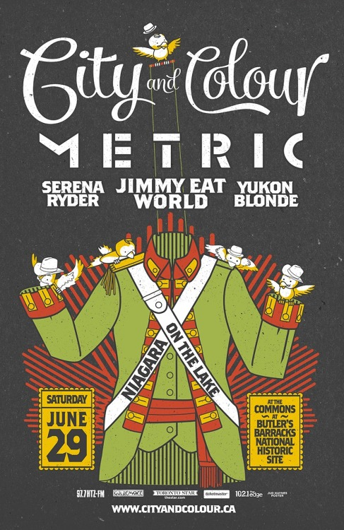City and Colour, Metric, Serena Ryder, Jimmy Eat World and Yukon Blonde will be at Niagara on the Lake on June 29!