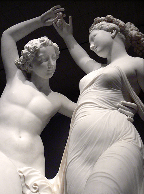 "c0ssette:  ""Zephyr Dancing with Flora"" 1870,Detail,Marble sculpture by Giovanni Maria Benzoni."