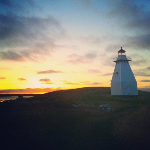 The lighthouse at sunset. Pleasant Point, Nova Scotia.