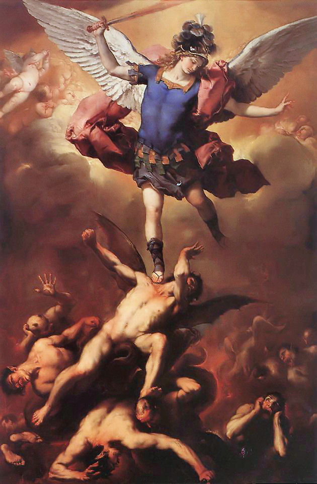 ughpsh:  Archangel Michael Hurls the Rebellious Angels into the Abyss (ca. 1666), Luca Giordano
