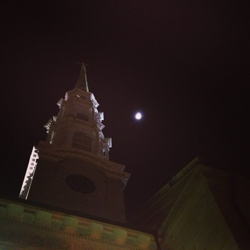 Walking home, we had to catch this. #savannah #georgia #night #church #moon #photography