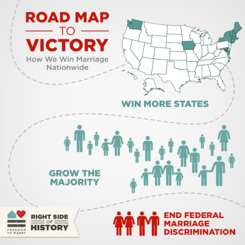 freedomtomarry:  Same-sex couples should be able to marry in every state and those marriage's should be legally respected by the federal government. Freedom to Marry's Roadmap to Victory is our three prong strategy for winning the freedom to marry nationwide. Find out more here: http://bit.ly/17Jr6iE