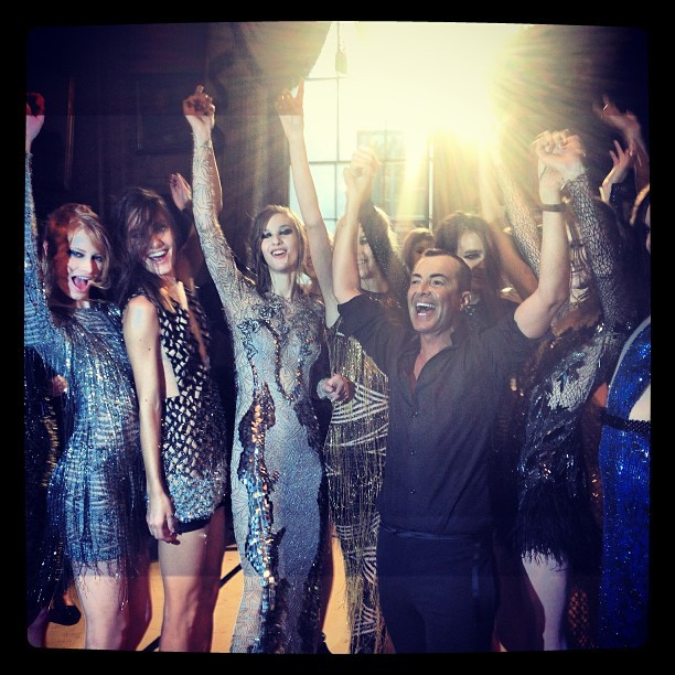 @julienmacdonald and models after the fashion show! Loving this collection!! #juliemacdonald #lfw #aw13 #fashionshow