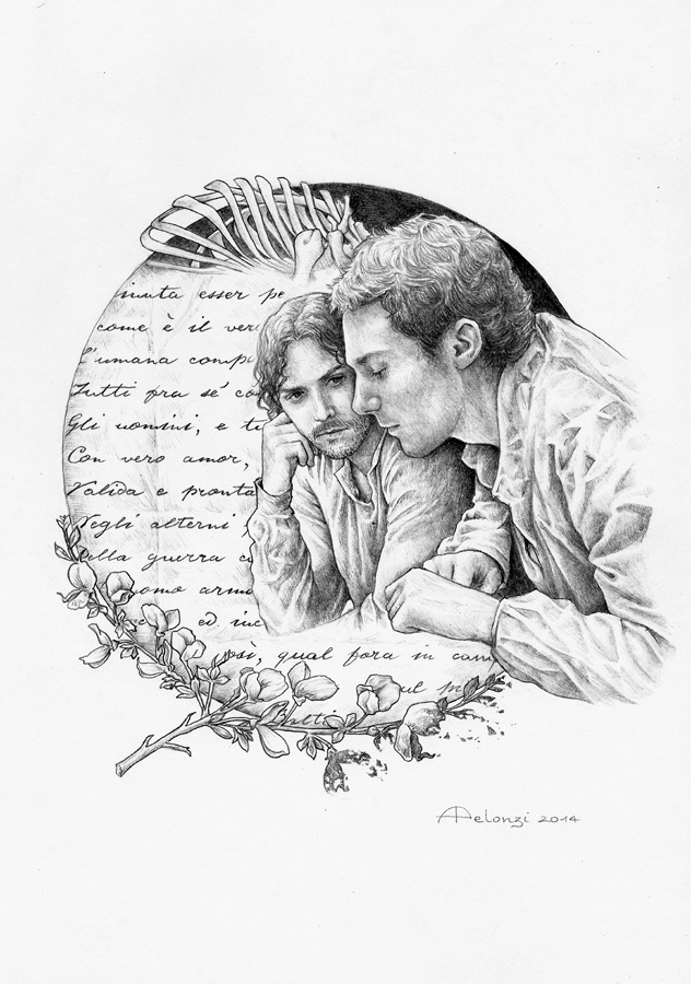 """La Ginestra"" Here's my last (?) tribute to Giacomo Leopardi's poetry - and to Il Giovane Favoloso, the biopic recently presented at the Venice Film Festival. This drawing - in which I portrayed Elio Germano as Giacomo Leopardi and Michele Riondino as his friend Antonio Ranieri - was inspired by one of the last poems Leopardi wrote, La ginestra o Il fiore del deserto (The broom or The flower of the desert).  [[MORE]] In its verses, the poet expresses his vast thought about mankind, history and nature. The great volcano Vesuvius dominates the entire poem with its destructive power. The scotch broom (ginestra), growing in those desolate places without surrendering to the hostile Nature, resembles the image of an ideal man, weak but courageous enough to be aware of his real condition. A man who rejects any illusions about himself and does not invoke from Heaven (or Nature) an impossible help. A man who is a clear metaphor of Leopardi's condition. The poet laments the nothingness of the world and of man compared with the universe and the precariousness of the human condition threatened by the capriciousness of nature; then, he satirizes the arrogance of man, who propounds ideas of progress, hopes and eternity, even knowing he is mortal. But the inner message of this canto is very different from the rest of Leopardi's works. This poem is about solidarity.  In the last stage of his life, Leopardi finally develops the concept of ""social chain"", in which men, brothers in pain, can bear the pain if they join together. This is because, in t"