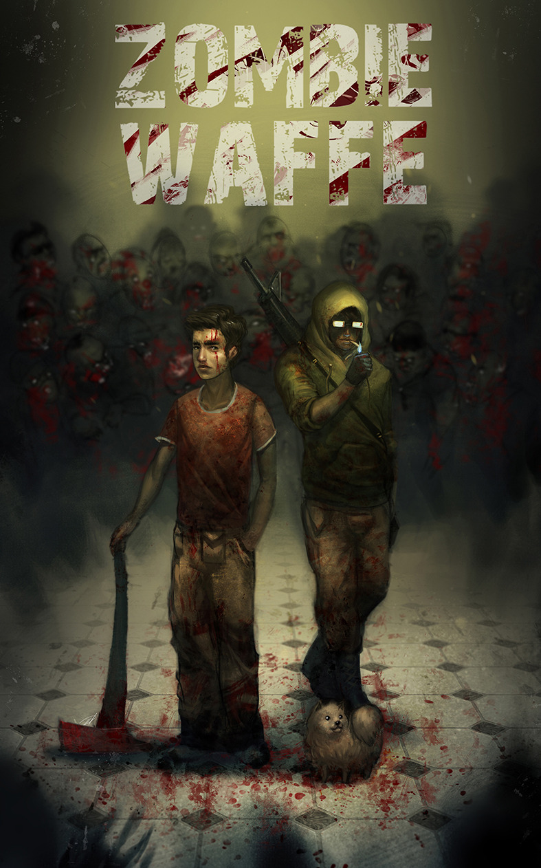 Poster painting I did for my girlfriend's web comic bout zombies called Zombie Waffe http://www.zombiewaffe.com/home/2011/07/11/page-1/ Check her deviant art out as well! http://detkef.deviantart.com/