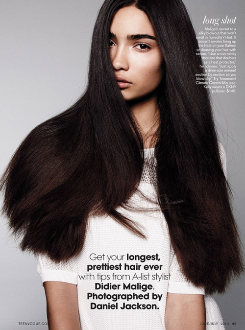 vivamodelblog:  Kelly Gale shows off her long, tumbling locks for Teen Vogue's new issue, photographed by Daniel Jackson - with a feature on hairstylist Didier Malige!