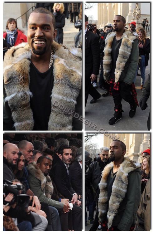Kanye West in Paris at The Louis Vuitton's Fall 2013 show in black jeans, Patta x KangaROOS Woodhollow Heritage hiking boots, and a Ermanno Scervino Green fur parka coat