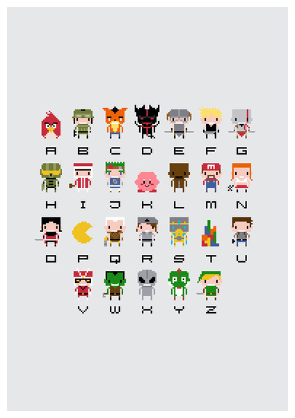 insanelygaming:  Video Game Pixel Alphabet T-shirts and prints available on Society6 Created by PixelPower