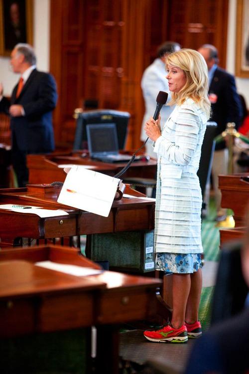 Texas State Senator Wendy Davis (D-SD 10) filibusters SB5, a bill that would ba
