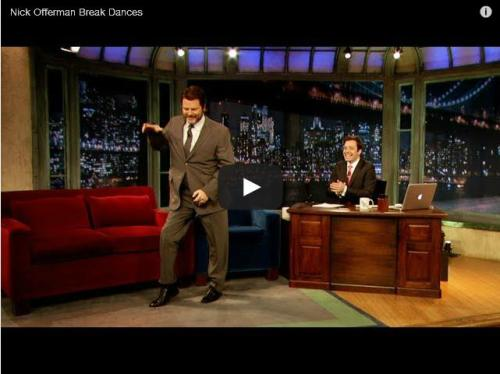 Watch Nick Offerman break dance on Jimmy Fallon's show.