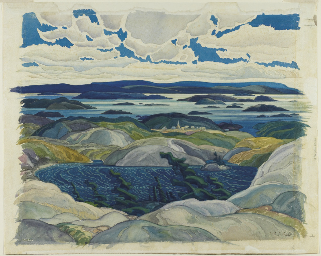 showmethe-monet:  Franklin Carmichael Bay of Islands 1930