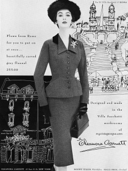 myvintagevogue:  Dovima wearing suit by Eleanora Garnett 1953