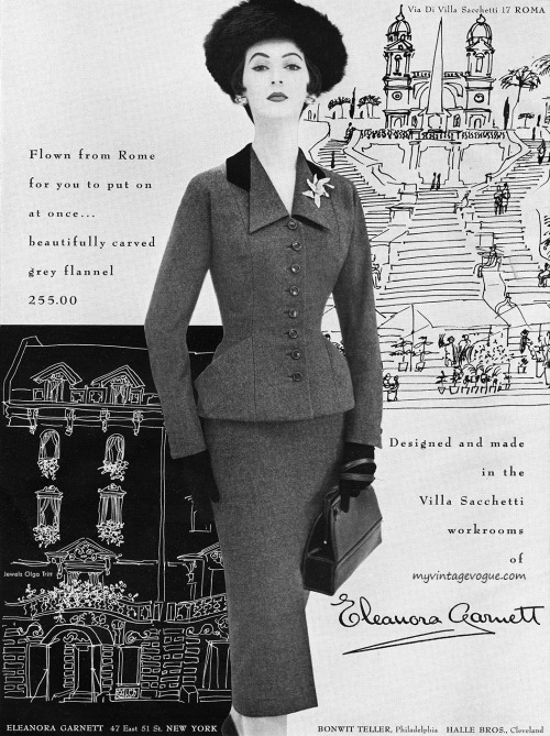 Dovima wearing suit by Eleanora Garnett 1953