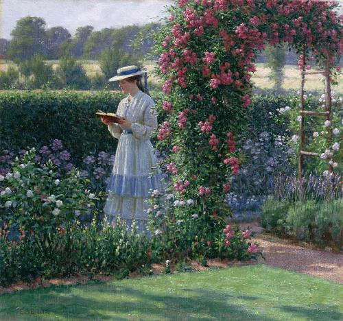 books0977:  Sweet Solitude (1919). Edmund Blair Leighton (English, Pre-Raphaelite,  1853-1922). Oil on canvas. Leighton was a painter of historical genre pictures, mainly of medieval times, but also regency. The reasons for the continuing popularity of the his work are similar to those in his lifetime, namely nostalgia for an elegant chivalrous past. Leighton was also a fastidious craftsman producing highly-finished beautifully painted decorative pictures.