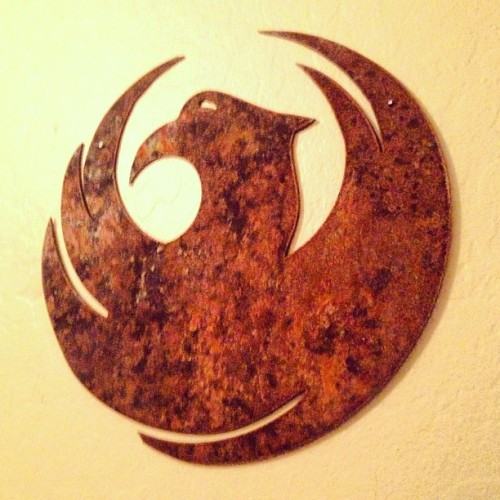 Cool rusty metal custom #phoenix logo i got from etsy shop #heavymetals #rustic #metal #art #decor