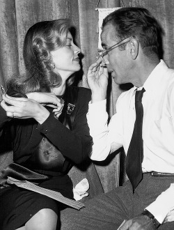 deforest:  Humphrey Bogart and Lauren Bacall between rehearsals for a 1946 Lux Radio Theater adaptation of To Have and Have Not, in which both actors revisited their original screen roles.