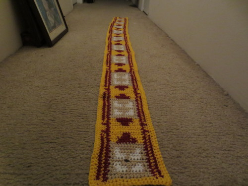 sewtada:  Journey Scarf I finished this morning. If you would like one like it check out my shop by following the link on my page :3