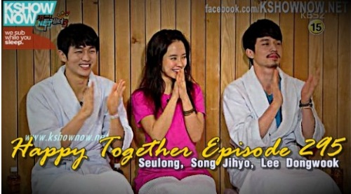 kpopshowloveholic:  Happy Together Episode 295 w/ Seulong (2AM), Song Jihyo and Lee Dongwook Eng Sub  full credit kshownow  View Post