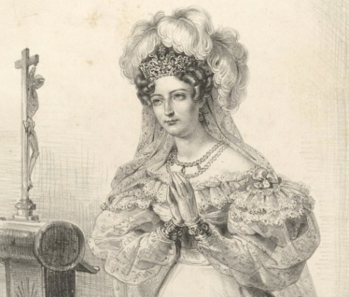 Marie Thérèse, duchesse d'Angouleme, in Scotland. 1832. The French Bourbons, following the revolution of 1830, returned to the Holyrood Palace in Scotland where Charles X—then the comte d'Artois—had lived for several years after the revolution of 1789-1793. source: gallica.bnf.fr