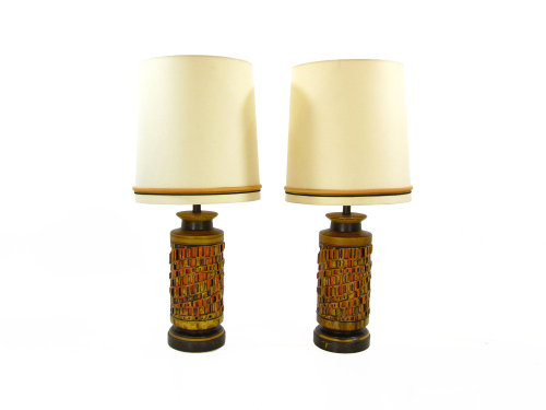 Pair of Giant Brutalist Table Lamps