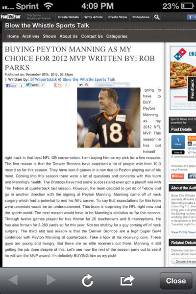 Check out my article on Peyton Manning for MVP on btwsportstalk.com