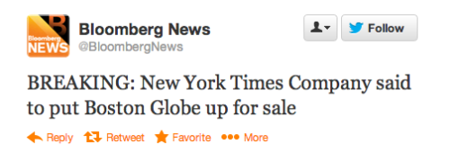 The New York Times Company purchased the Boston Globe for $1.1 billion back in 1993. It's unknown why the Times is currently planning to offload the paper, which has been in circulation since 1872, though rumors that it would be sold have been circulating for some time now.