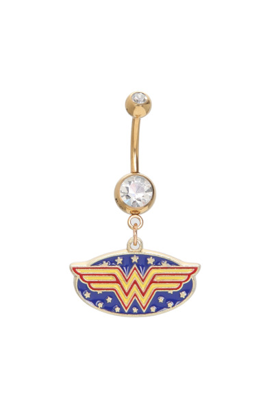 Wonder Woman Navel Barbell http://www.hottopic.com/hottopic/Accessories/BodyJewelry/DC+Comics+Wonder+Woman+14G+Gold+Navel+Barbell-10002057.jsp