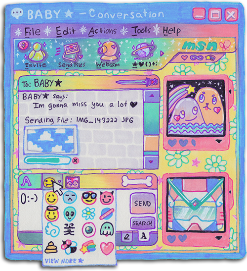 milkbbi:   me & daniel drew this togther in memory of MSN Messenger which was shut down yesterday after 14 years~ R.I.P. 1999-2013   my teen years