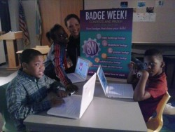 The first round of Poster Badge earners at Thurgood Marshall Youmedia.