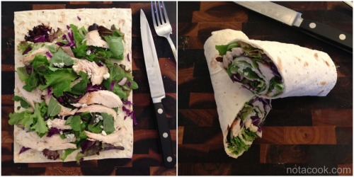Quick dinner: throw things onto flat bread, roll, & eat