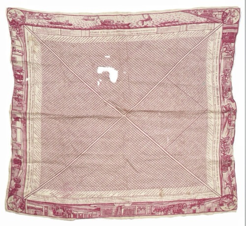 thevintagethimble:  A Printed Handkerchief Showing The Cab Rates In Hackney London.18th Century. English.  Red to a natural ground, the centre divided in four panels variously illustrating rates for Hackney Coaches, Hackney Chairs, Watermen on the Thames, and of the distances between principle cities of Great Britain, the border of transport-themed vignettes. | Christies