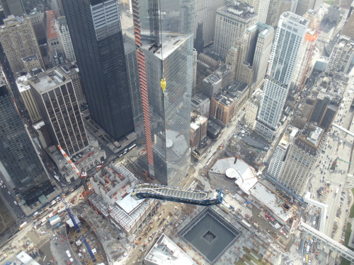 ThyssenKrupp Elevator - One World Trade Center Escalator Hoisting (by TKE_Americas) How do you get an elevator to the top of the WTC? Pretty cool! Check out the whole set.