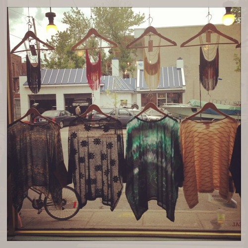 Fringe necklaces and Box Ts in the window at General 54…the Norwegian Wood Popup shop is starting!!
