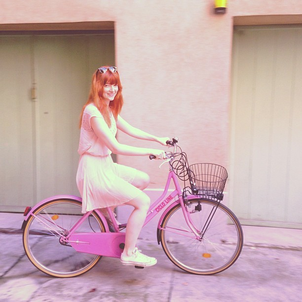 Princess Keeley on her pink bike. @keeleysheppard @ryanbuttman #pink