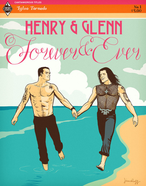 jimrugg:  Henry & Glenn Forever & Ever unused on Flickr. This is an unused idea for Igloo Tornado's Henry & Glenn Forever & Ever cover. It's inspired by Harlequin romance book cover designs.  We ended up going with this Tom of Finland treatment.