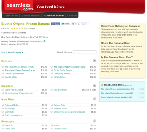 lizdexia:  popculturebrain:  Seamless made a faux Bluth's Banana Stand page. (ht alexjsuskind)  Chicken fingers… with SPIIIIICY CLUB SAAAAUCE.  Do not order the Skip Scramble