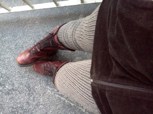Behold my new socks. From Sock Dreams the Long CuffableScrunchablesocks in Charcoal. First off I was not ready for just how long they are. Second off they are very easy to get on. And wow they are warm and comfy. I can actually pull them up almost to my butt. I am wearing them with leggings and at a glance it almost looks like they are my pants. They stay up beautifully, I've already walked about a mile and a half today and they didn't budge. I can cuff them comfortable, or just pull emon up. I am absolutely getting more of these. If you are a haver of big ass hams, I suggest checking their size chart on the product page. I imagine they have enough stretch to be OTK at least on larger calves. A+ Sock Dreams wins again.