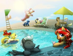 Shoo be Doo, Shoo Shoo be Doo… Call upon the sea ponies to help out with your post-con distress! Those who attended TrotCon last year may remember our glorious pool party shenanigans. This year, we'd like to up the ante by having a day-long after-party at Central Ohio's premier water park, Zoombezi Bay! This 22-acre park features 17 water slides, a wave pool, two lazy rivers, and much more. It is located adjacent to the Columbus Zoo and Aquarium, which is approximately 25 minutes north of our venue, the Sheraton at Capitol Square. We will be offering a group discount of $27 for anyone holding a room key at the Sheraton. Sponsor Badge holders will get half that rate, a mere $13 for a full day of water park fun! Water park tickets will be available for purchase at the convention registration table. Watch our website for further announcements and more details. Don't wave goodbye on Sunday, come make a splash with us! (Coming from out of town and need a ride to the water park? Ask on our Ride and Room Shares board!)