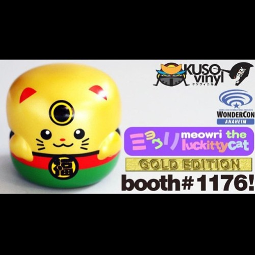 Gold Luckitty Pon release at Wonder Con 2013 next weekend. Limited to 200 pcs worldwide, available at Kusovinyl / Kusopop booth #1176 #kusopop #kusovinyl #urbanvinyl #vinyltoy #kidrobot #dunny #designertoy #actionfigure #minitoy #customtoy #Gashapon #gold #luckycat #japan #anime #convention