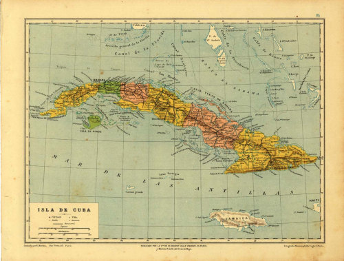 Antique Map of Cuba 1899, Political Division at CarambasVintage http://etsy.me/Y476RW