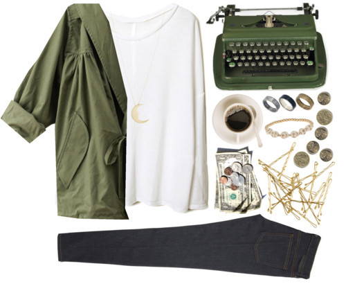 Writer by dreamingsouls featuring a white cotton sweaterWhite cotton sweater / ティアードフリル重ねのショートパンツ / Stella McCartney ankle zip skinny jeans, $220 / Just Acces metal ring / Topshop skull bead bracelet / Me&Ro me ro jewelry / H&M  hair accessory, $3.04