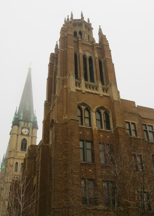 Marquette Hall and Gesu Church at Marquette University.
