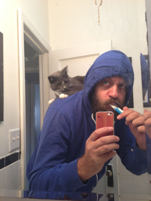 captphunkosis:  Well…this is a new twist on my morning routine.  mrow … The molar, in the back, in the right