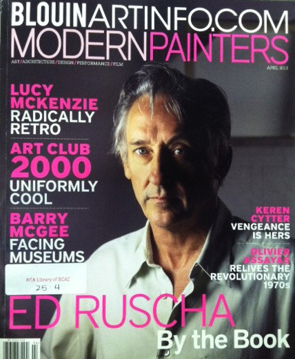 "Check out Modern Painters (April 2013) with Ed Ruscha on the cover found in the current journals section of the library.  The article is ""Ed Ruscha: The art of the book"" by Meghan Dailey     ""For Ruscha, books are at once trash and treasure, and he likes that they can be both."" (p. 58)     You might also be interested in these library books by/about Ed Ruscha:    Various Small Books:  Referencing Various Small Books by Ed Ruscha (2013) Ed Ruscha:  Road Tested (2011)  Ed Ruscha:  Fifty Years of Painting (2009)  Ed Ruscha, Photographer (2006)  Ed Ruscha:  The Drawn Word (2003)"
