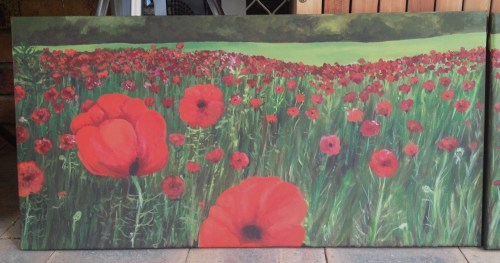 Red Fields Painted for a friend on request 2 x 78x40cm acrylic on canvas