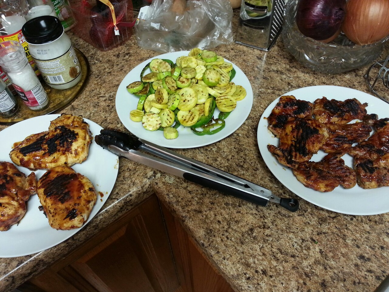 Who is hungry?! BBQ Chicken and Grilled Vegetables!