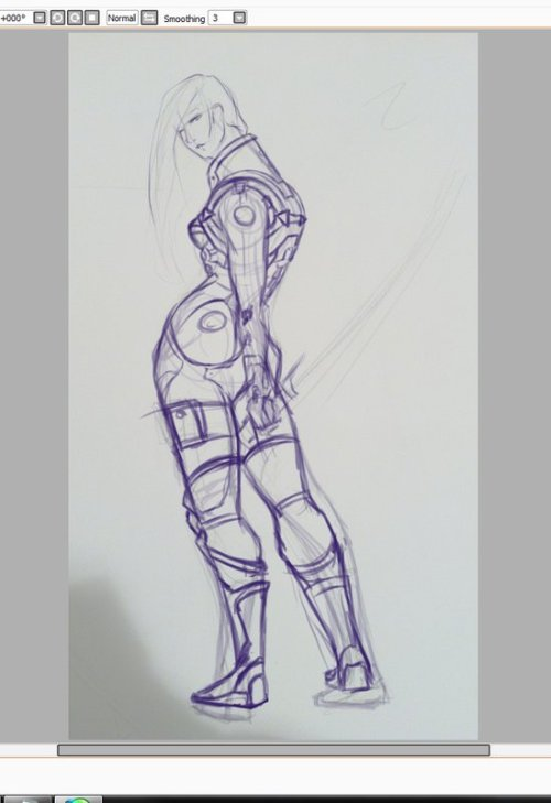 WIP of a friend's Mass Effect OC. @_@ Black on black details are hard to see.