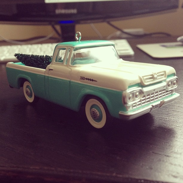 Just got my badass 1960 Ford F100 ornament. Not the same colour as mine will be, but still awesome.