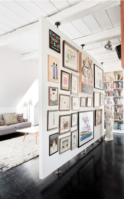 I wanna have a wall like this, except I'd use it for my kids art…or pictures of my cats. Whichever happens.